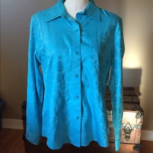 Foxcroft Non Iron Long Sleeve Blouse 14P Slim Fit